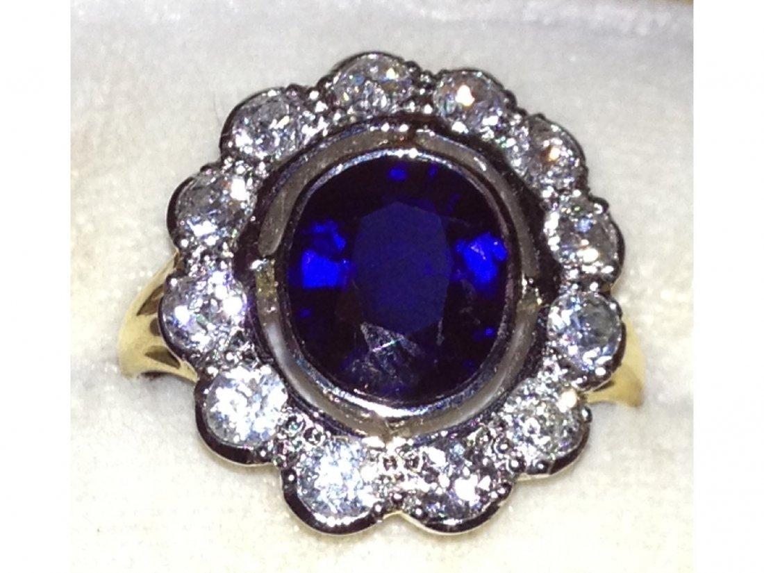 30: A fine Victorian oval Ceylon sapphire and diamond c