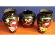 104 Two Victorian handpainted glass vases black grou
