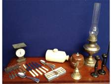 567: An oil lamp together with a Victorian bed warmer,