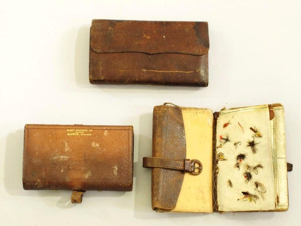 "181: 3  Vintage Leather Fly Wallets, 1 Marked ""Hardy"""