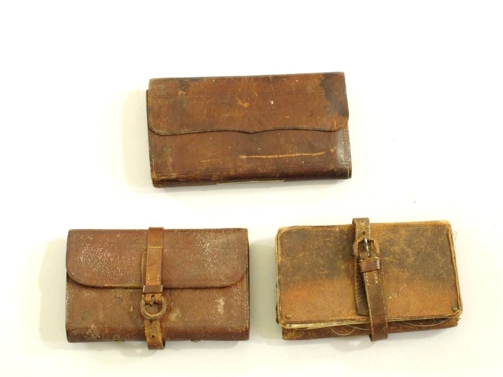 "181: 3  Vintage Leather Fly Wallets, 1 Marked ""Hardy"" - 2"