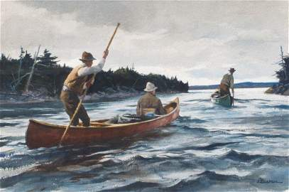 Polling Up River by Ogden Pleissner, Watercolor