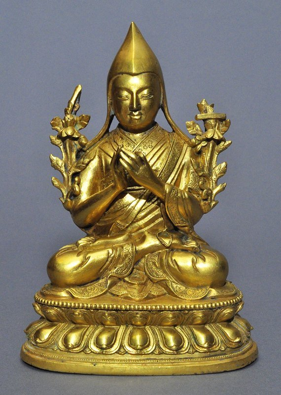 A Sino-Tibetan Gilt Bronze Tsong Khapa