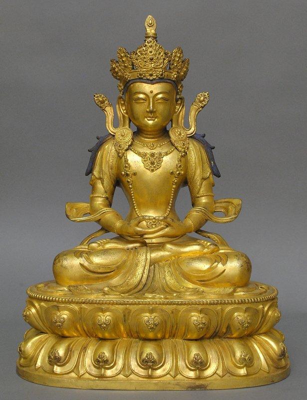A Very Important Sino-Tibetan Gilt Bronze Amitayus