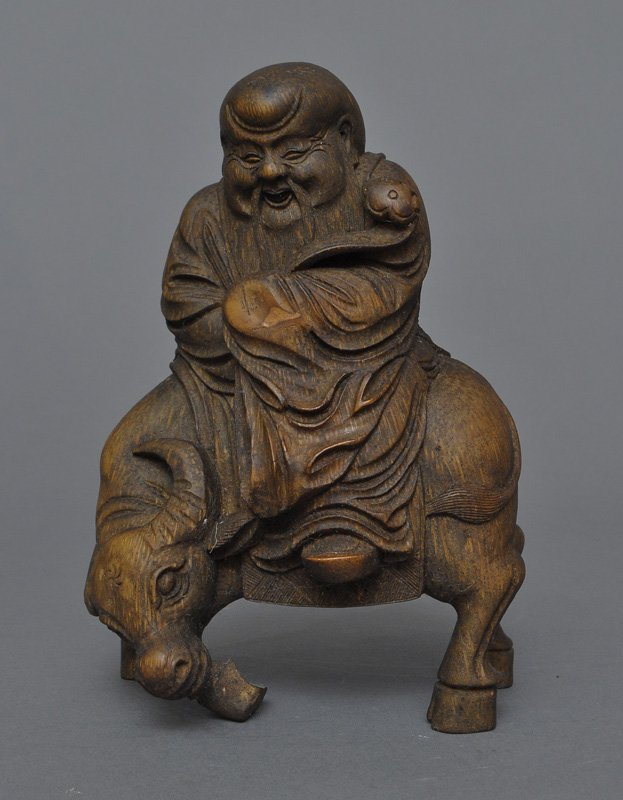 A Chinese Bamboo Carved Shoulao