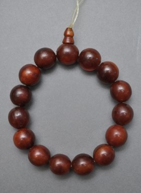 A Chinese Horn Carved Bead Bracelet