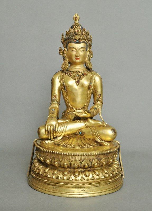 A Large Sino-Tibetan Gilt Bronze Bodhisattva, Qing