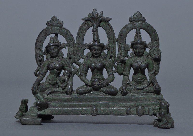 A Rare Indian Pala Bronze 3 Goddess Trinity, 9th-11th C