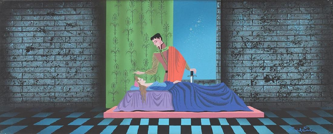 Sleeping Beauty and Prince Phillip production concept painting by Eyvind Earle from Sleeping Beauty