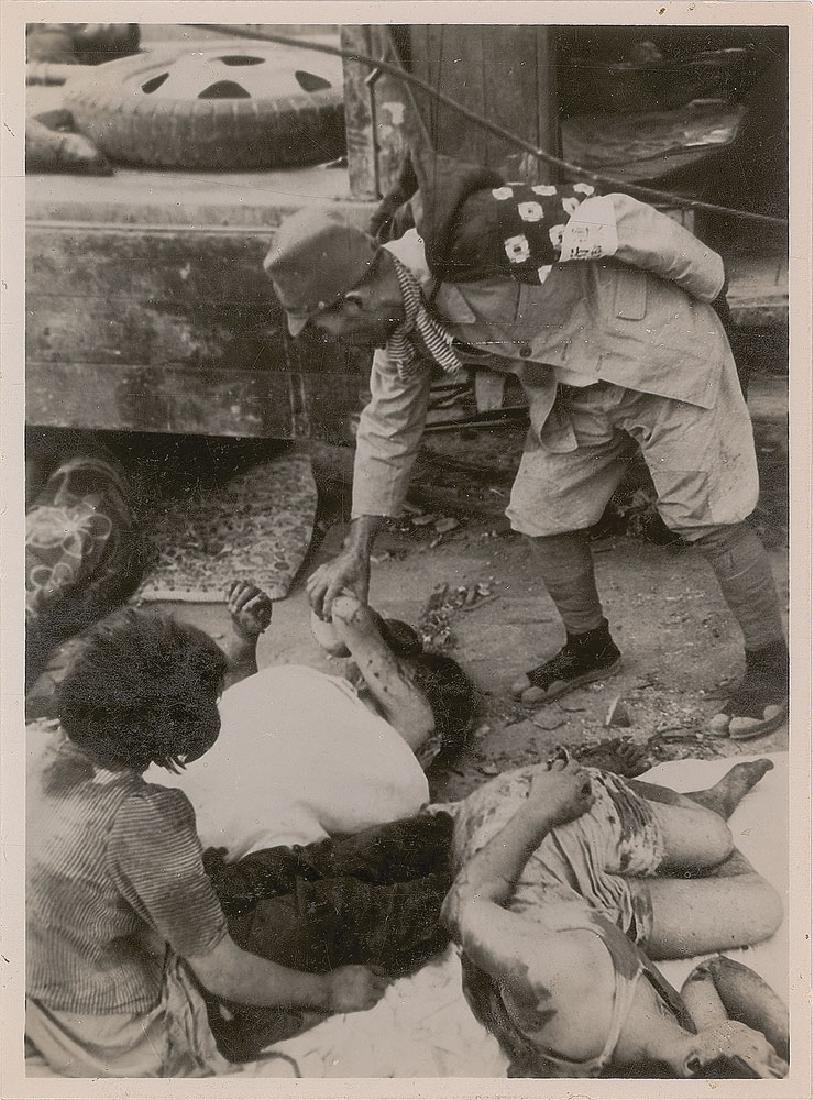 Nagasaki Original Photograph of a Soldier and Casualties by Yosuke Yamahata