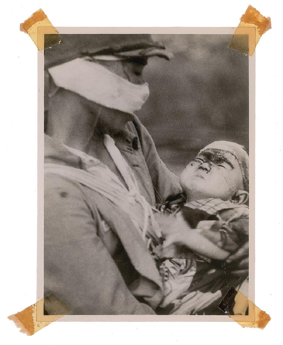 Nagasaki Original Photograph of a Japanese Soldier with Child by Yosuke Yamahata