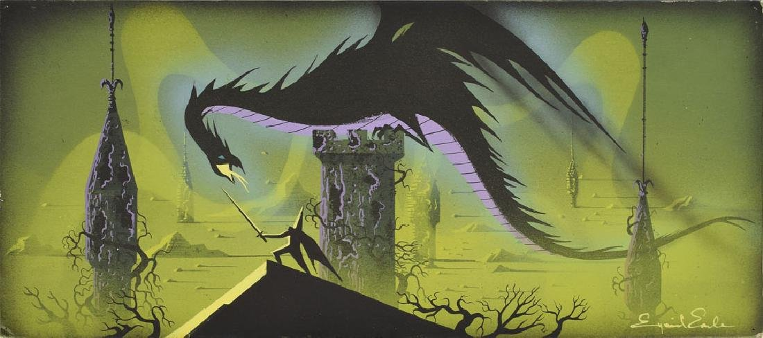 Maleficent and Prince Phillip concept artwork from Sleeping Beauty by Eyvind Earle