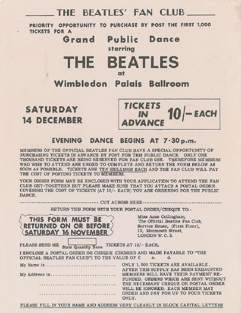 Beatles 1963 Wimbledon Palais Concert Flyer
