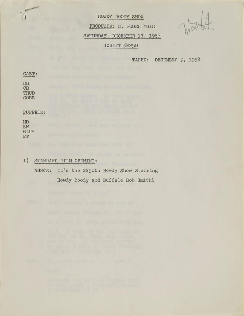 Howdy Doody Show 1958 Script