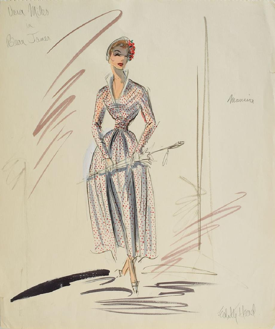 Edith Head Signed Sketch for Beau James