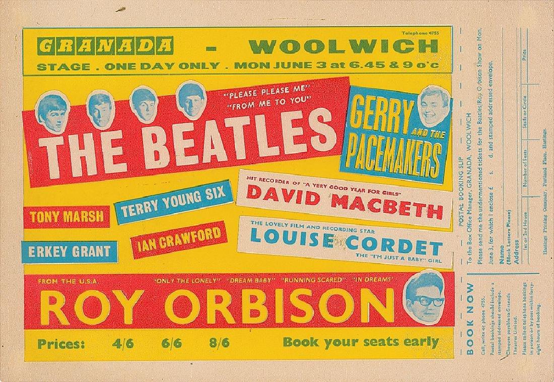 Beatles 1963 Granada Cinema Handbill