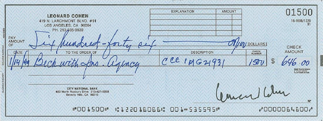 Leonard Cohen Signed Check