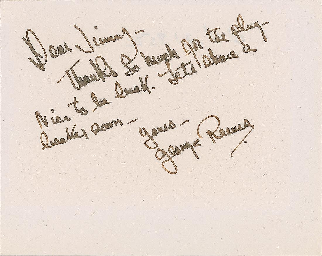 George Reeves Signed Thank You Note