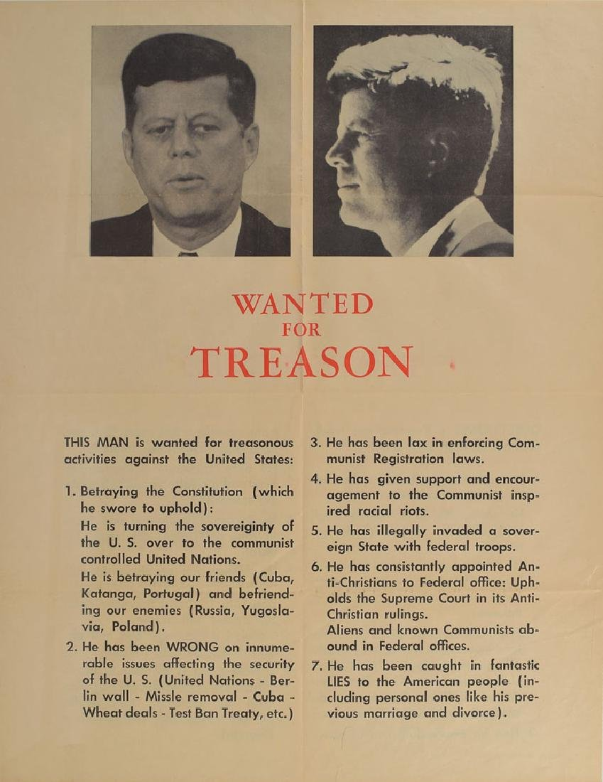 John F. Kennedy 'Wanted For Treason' Poster