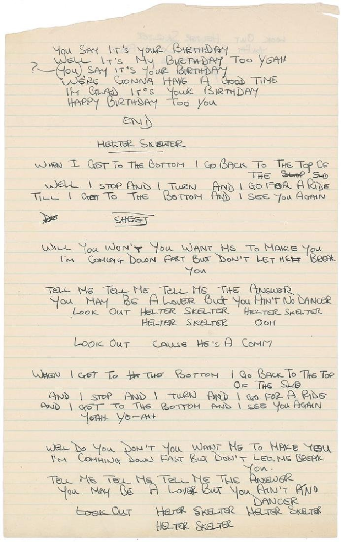 Mal Evans Handwritten Lyrics