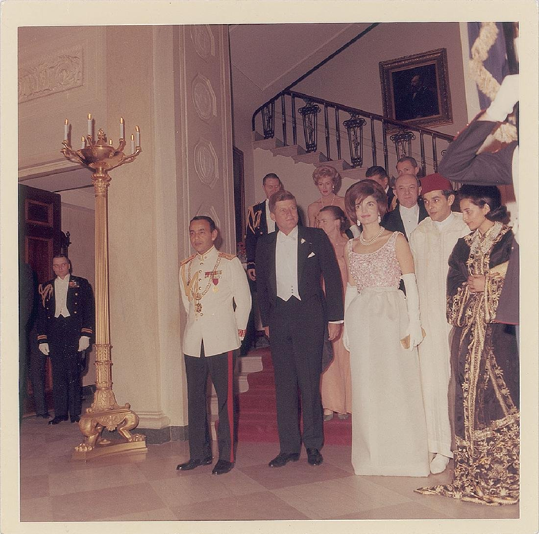 John and Jaqueline Kennedy and King Hassan II Original Vintage Photograph by Cecil Stoughton