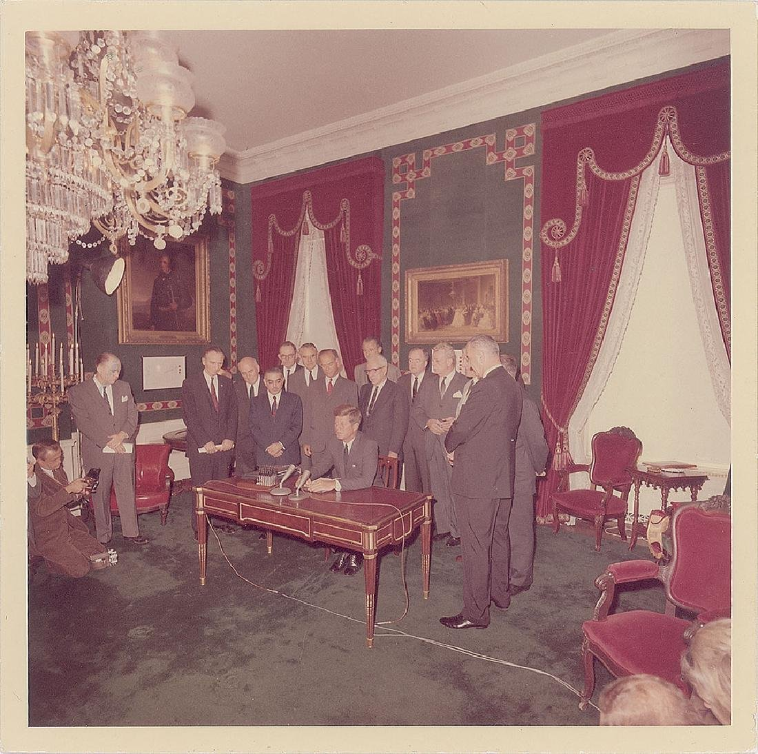John F. Kennedy Nuclear Test Ban Treaty Original Vintage Photograph by Cecil Stoughton