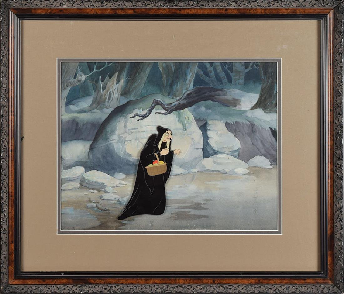 Wicked Witch production cel and production background from Snow White and the Seven Dwarfs