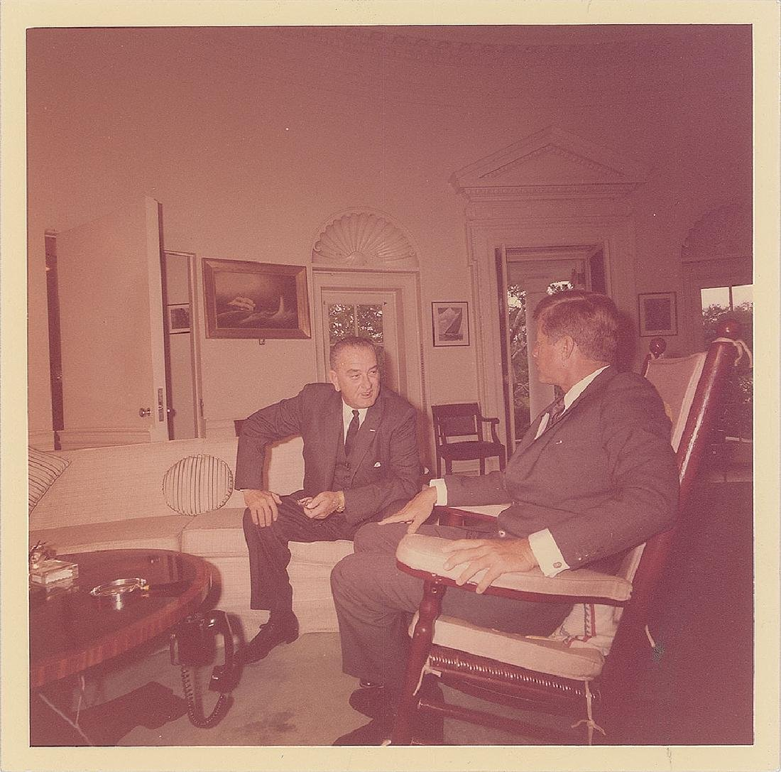 John F. Kennedy and Lyndon B. Johnson Original Vintage Photograph by Cecil Stoughton