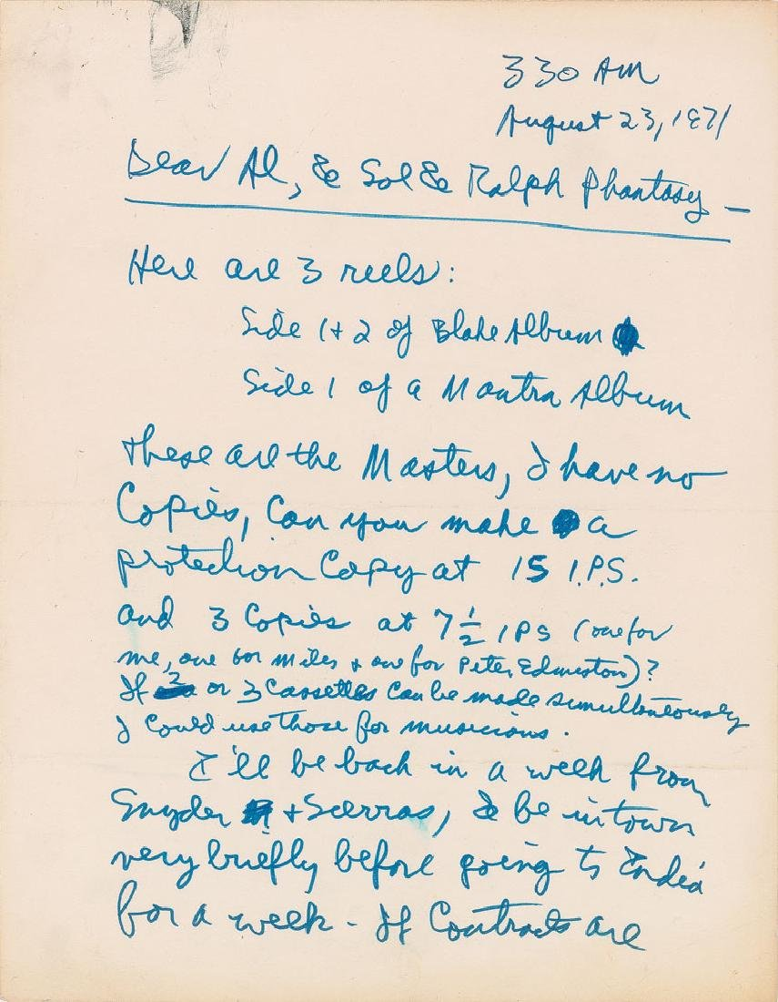 Allen Ginsberg Handwritten Letter Signed