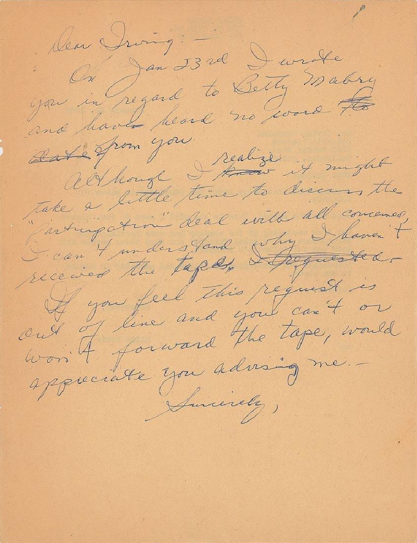 Miles Davis Handwritten Letter