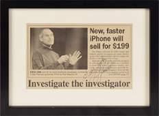 Steve Jobs Signed Newspaper Article