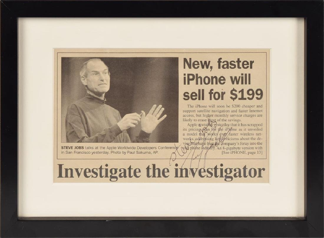 Steve Jobs Signed Newspaper Article