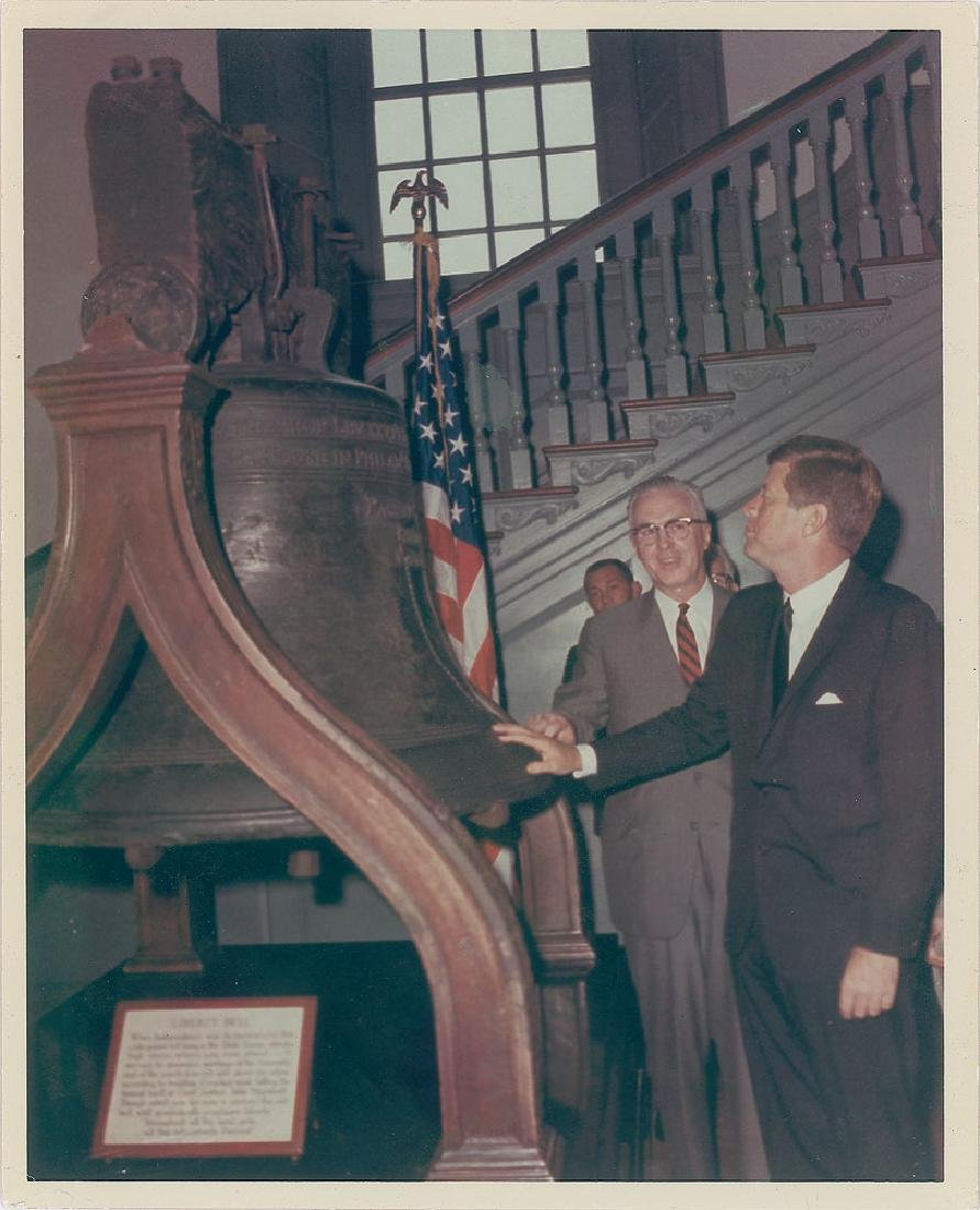 John F. Kennedy and Liberty Bell Original Vintage Photograph by Cecil Stoughton