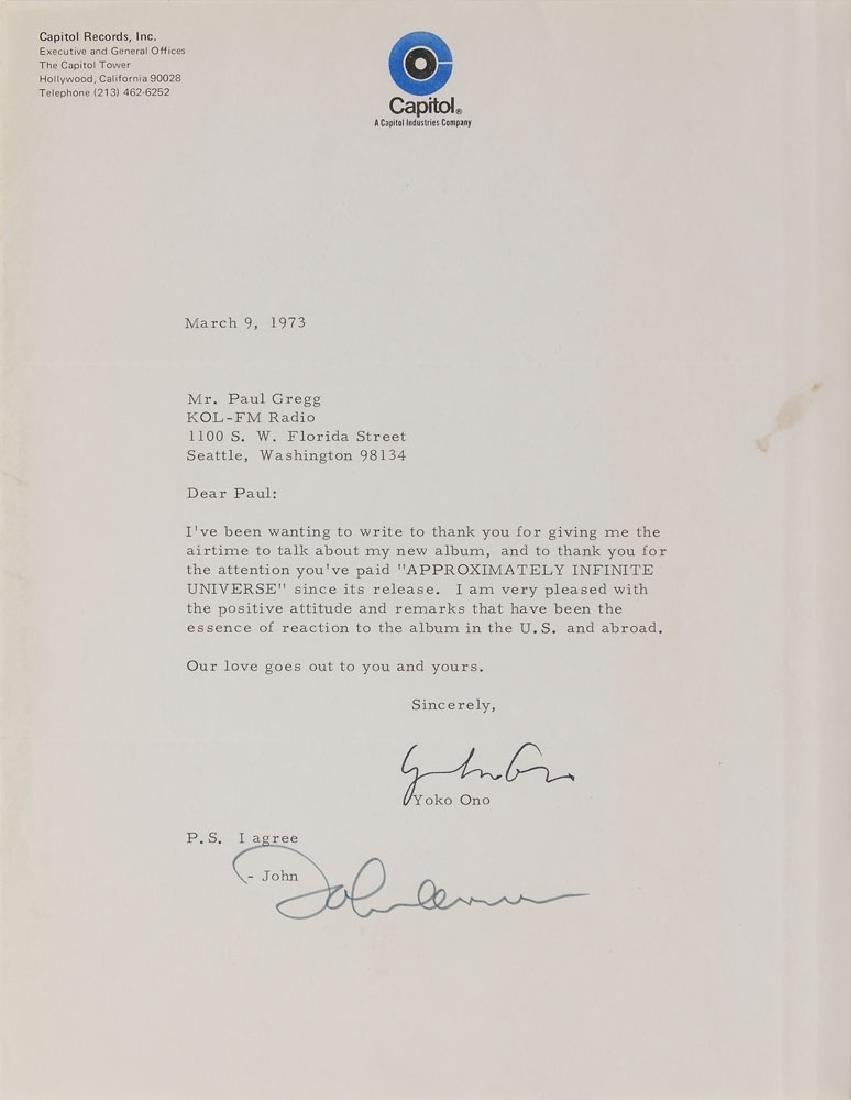 John Lennon and Yoko Ono Typed Letter Signed