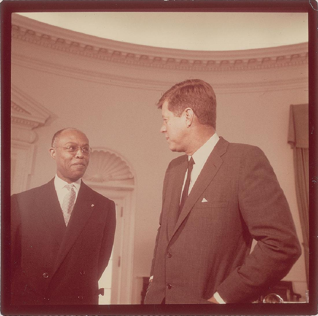 John F. Kennedy and Louis Mars Original Vintage Photograph by Cecil Stoughton