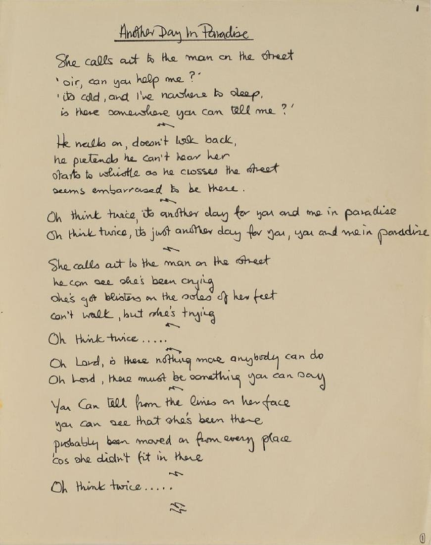 Phil Collins Handwritten Lyrics for 'Another Day in Paradise' and Album Proof