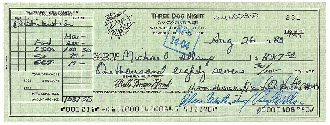 Three Dog Night Set of (3) Signed Checks
