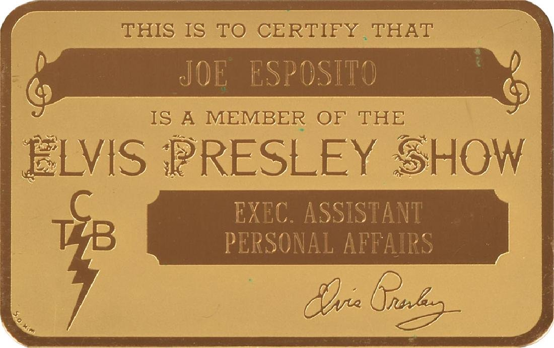 Joe Esposito's Elvis Presley Show Gold Metal ID Card