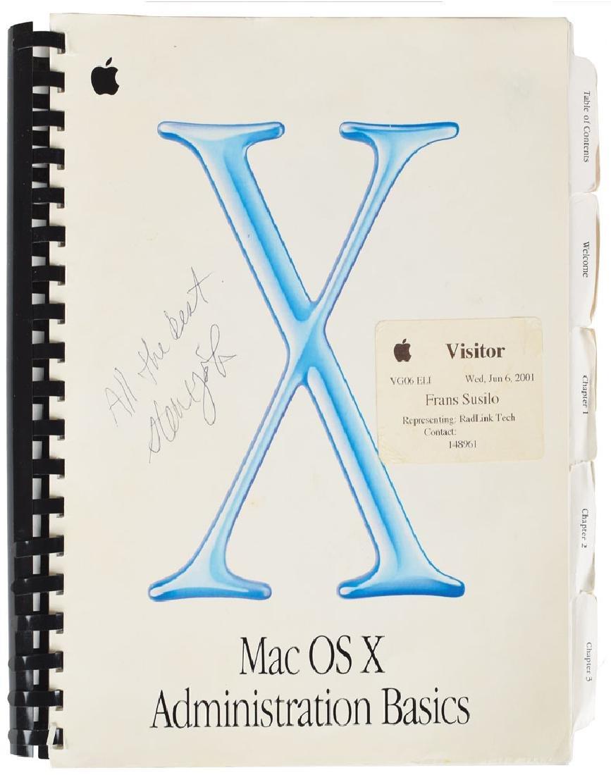 Steve Jobs Signed Apple Mac OS X Manual
