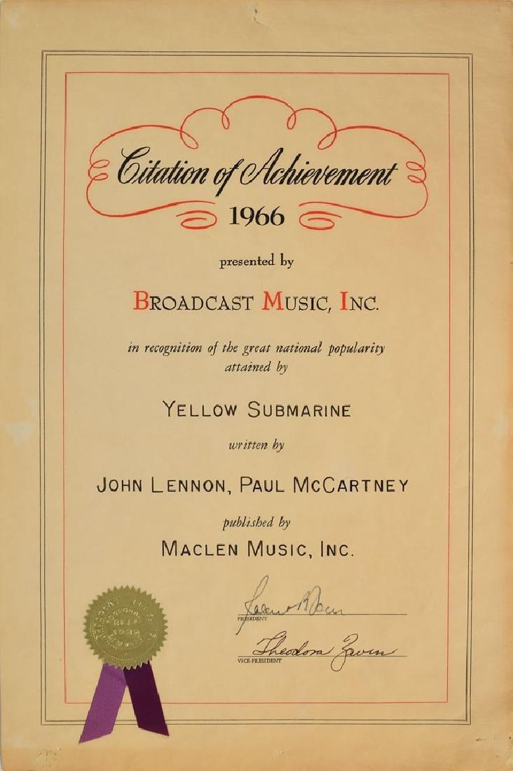 Beatles BMI 'Yellow Submarine' Certificate