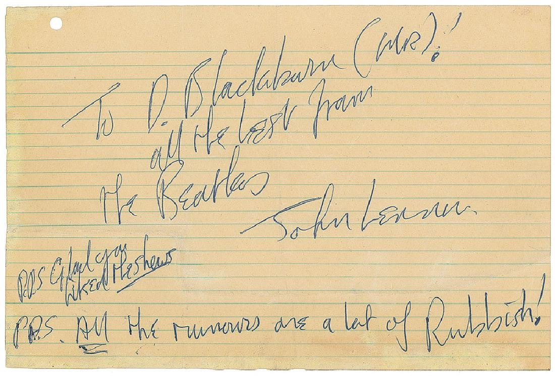 John Lennon Handwritten Note Signed