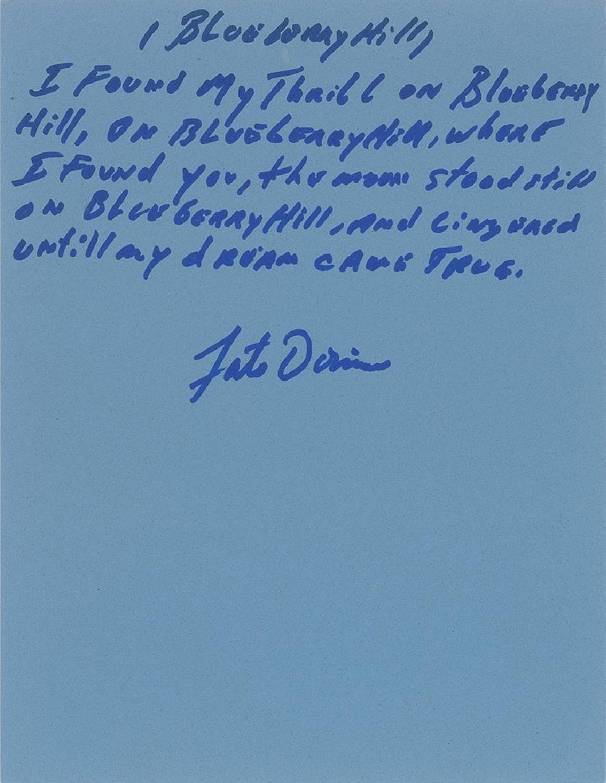 Fats Domino Handwritten Lyrics for 'Blueberry Hill'
