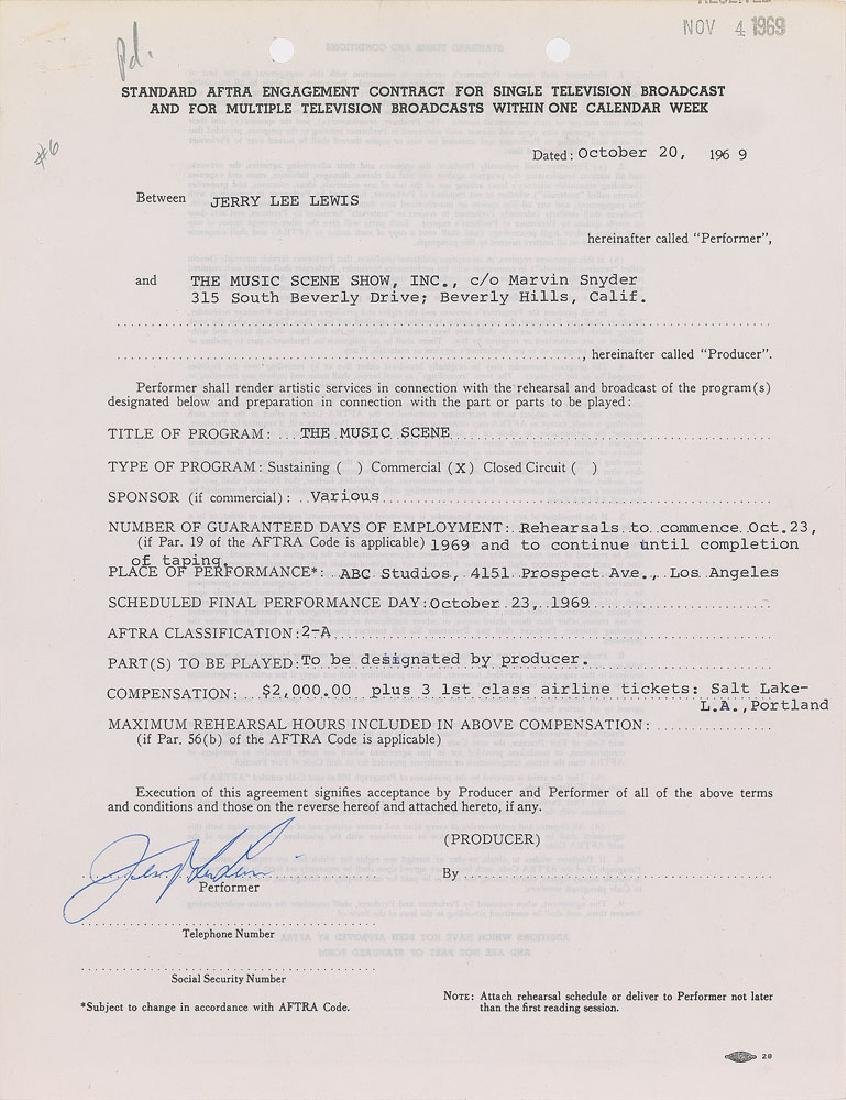 Jerry Lee Lewis Signed Document