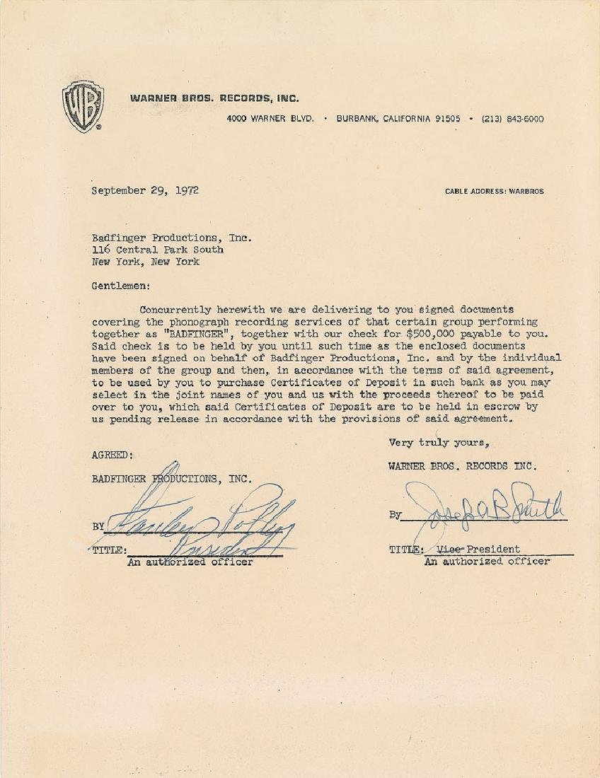 Badfinger: Stan Polley Signed Document