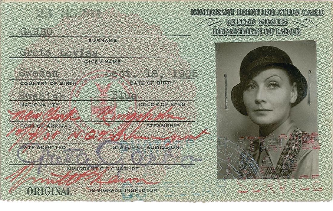 Greta Garbo Signed Immigration Card