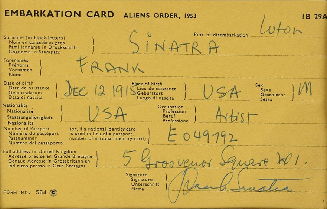 Frank Sinatra Signed Document