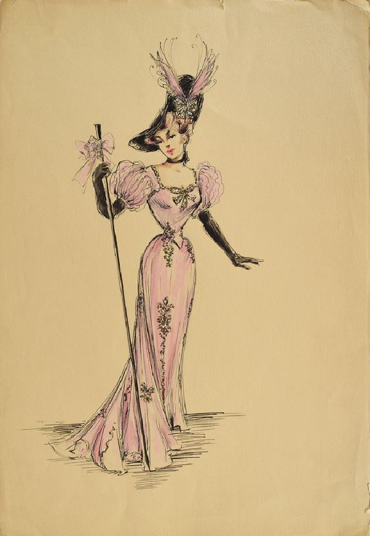 Joan Collins Costume Sketch from The Girl in the Red Velvet Swing