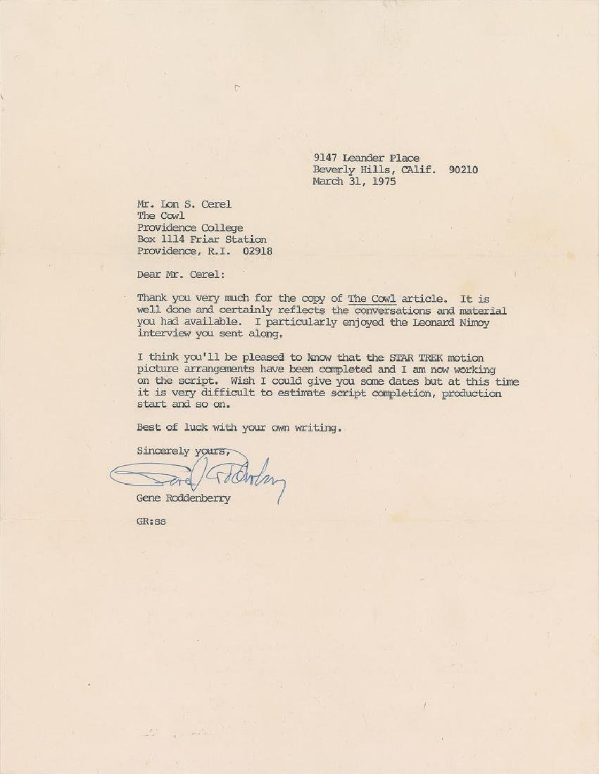 Gene Roddenberry Typed Letter Signed