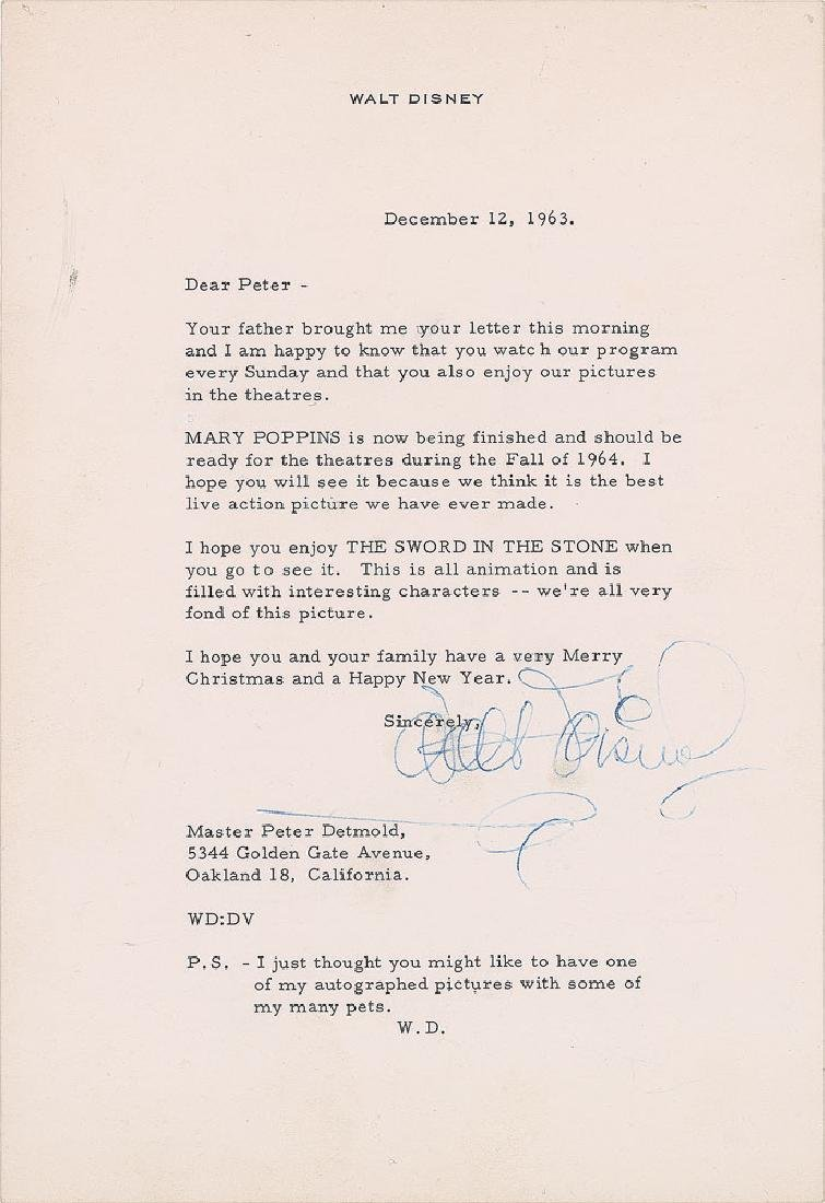 Walt Disney Typed Letter Signed