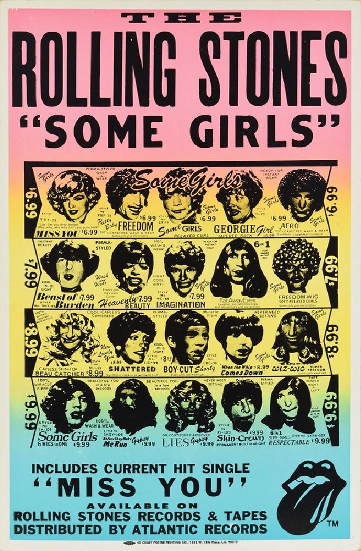 Rolling Stones 1978 Some Girls Promo Poster